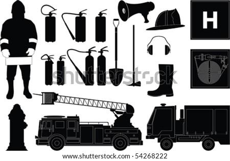Vector fireman equipment - stock vector