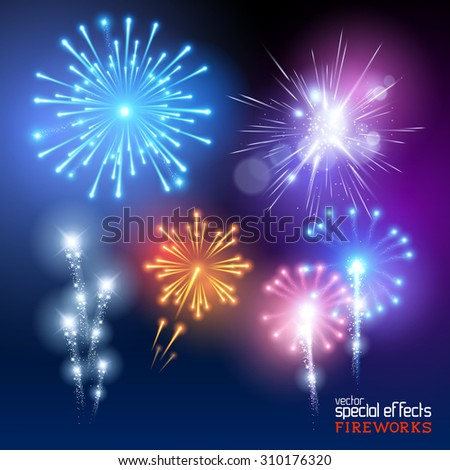 Vector Firework Collection. A set of various firework display effects. Vector illustration. - stock vector