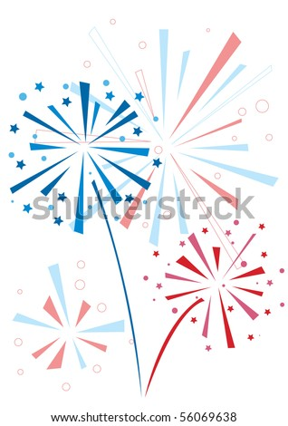 Vector firework in honor of Independence Day - stock vector