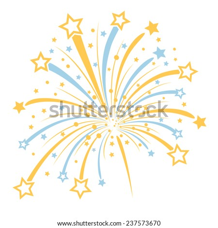 Vector firework with yellow and blue stars on white background - stock vector