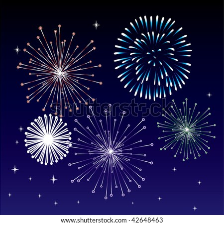 vector fireworks - stock vector