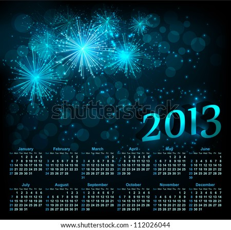 Vector fireworks background with calendar 2013 - stock vector