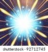 vector Fireworks blue orange background glow explosion - stock vector