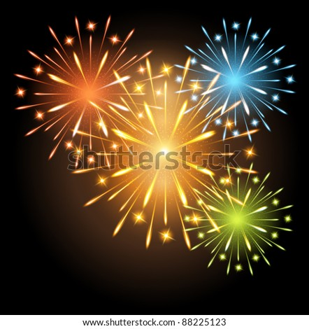 vector fireworks colors - stock vector