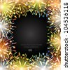 vector fireworks fire color frame blackboard congratulation photoframe - stock vector