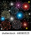 vector fireworks on dark background - stock photo