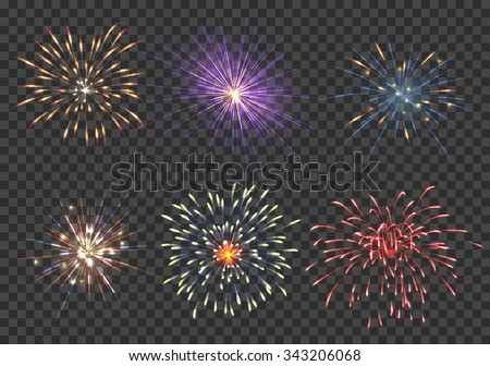 Vector fireworks set. Event, sparkle and star, pyrotechnic and petard illustration