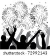vector fireworks with silhouettes of happy people - stock vector