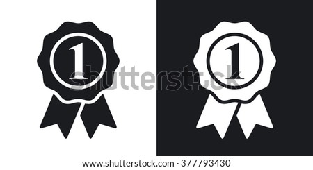 Vector first place icon. Two-tone version on black and white background