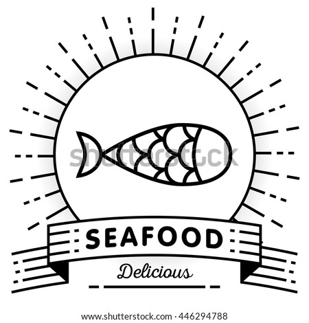 Vector Fish Icon with Linear Style