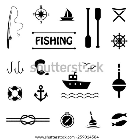 vector fish set icons, fishing boat,   - stock vector