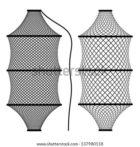 vector fishing net coop trap fyke - stock vector