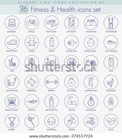 Vector fitness and health outline icon set. Elegant thin line style design. Fitness health icons set, Fitness health line outline icons isolated, Fitness health illustration, Fitness health image. - stock vector