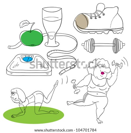 Vector fitness collection on a white background