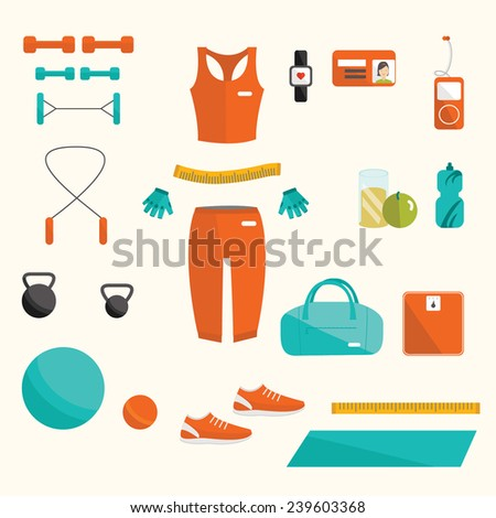 Vector fitness set. Vector functional training set. Vector fitness women set. Fitness elements. Vector fitness set. Fitness woman set. Vector flat design of fitness. Fitness details. Fitness woman.  - stock vector