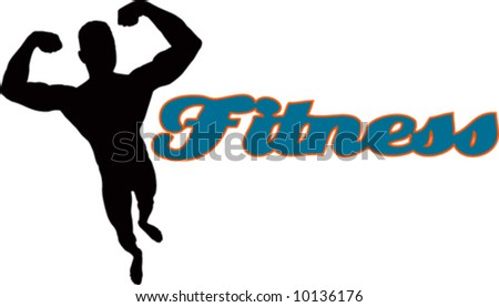 vector fitness with man silhouette