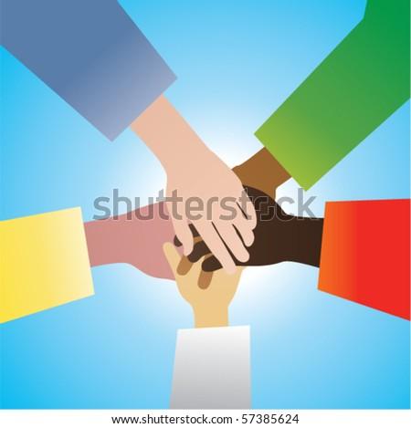 vector five hands in agreement - stock vector