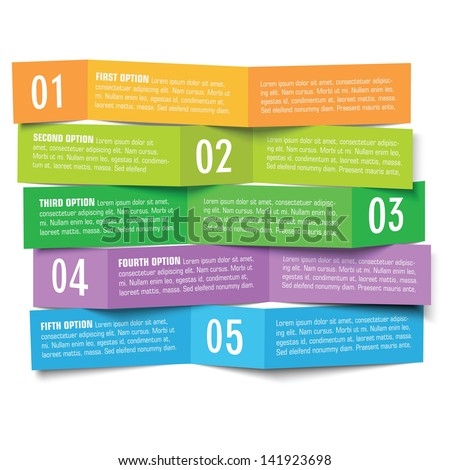 vector five options paper banners - stock vector