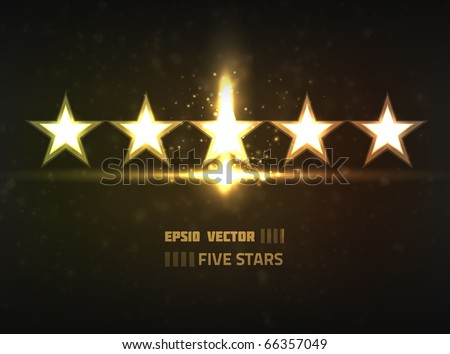 Vector five stars concept. Contains bright lights and blurry circle shaped particles on dark background - stock vector