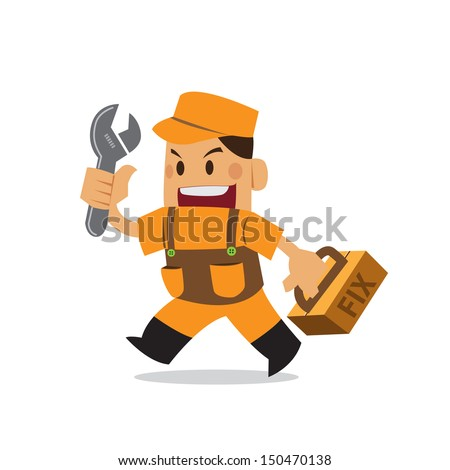 vector fix man, Mechanical, engineer, Reparation. repairman - stock vector