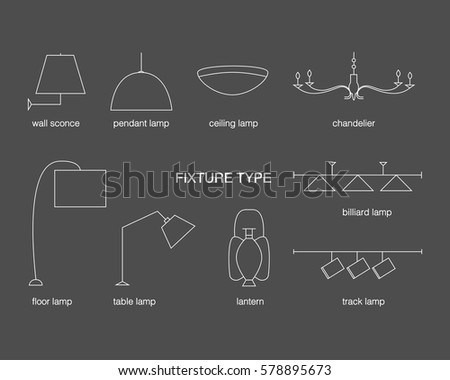 Vector Fixture Types. Lamp Line Icon Set On A Black Background. Wall Sconce,