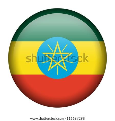 Vector flag button series - Ethiopia - stock vector