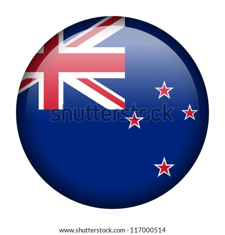 Vector flag button series - New Zealand - stock vector
