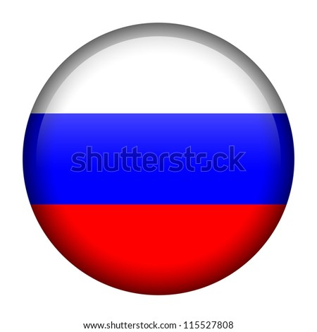 Vector flag button series - Russia - stock vector