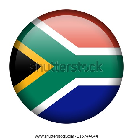 Vector flag button series - South Africa