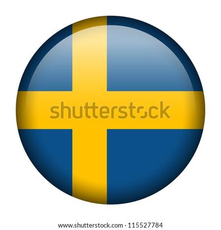 Vector flag button series - Sweden - stock vector