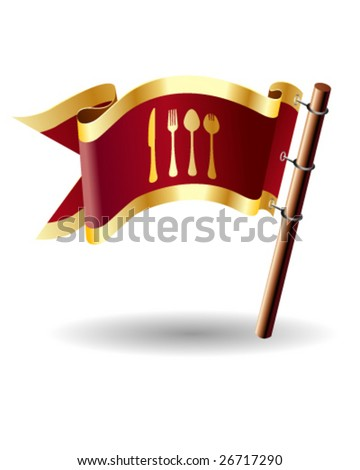 Vector flag button with dining icon on red and gold background