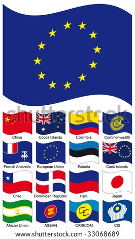 Vector Flag Collection. African Union, Asian Nations ASEAN, Caribbean CARICOM, CHILE, CHINA, Cocos Islands, Colombia, Commonwealth Independent CIS, Cook, Dominican Republic, Estonia, EU, French