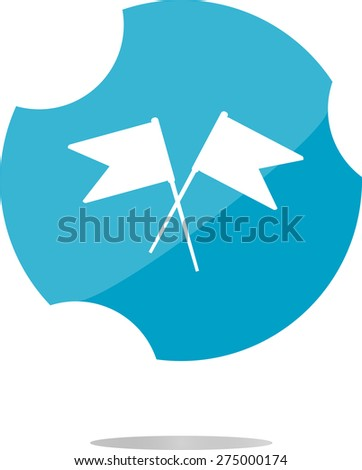 vector flag icon, web design element isolated on white, flat vector web button - stock vector