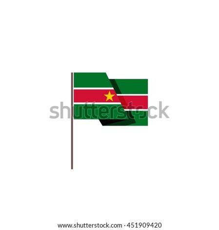 Vector flag of Suriname - stock vector