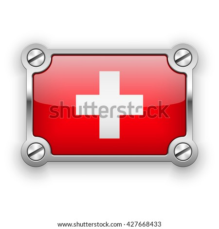 Vector flag of Switzerland in a silver frame