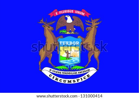 Vector flag of the United States of America State Michigan - stock vector