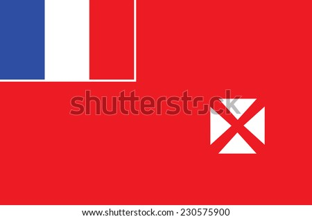 Vector flag of Wallis and Futun, Oceania . Original and simple Wallis and Futuna state flag isolated vector in official colors and proportion correctly. - stock vector