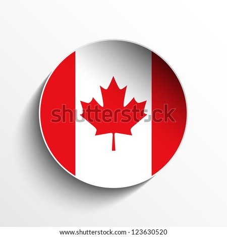 Vector - Flag Paper Circle Shadow Button Canada - stock vector