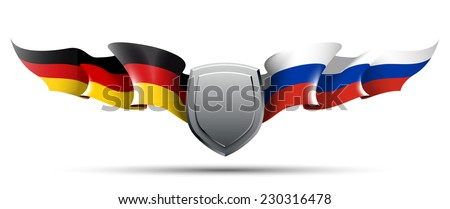 vector flags Germany european Russian Federation union banner national government illustration wind country isolated wave freedom nation patriotism election design background texture holiday set full - stock vector