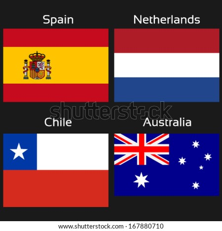 Vector flags - group B - Spain, Netherlands, Chile, Australia - drawing including all details