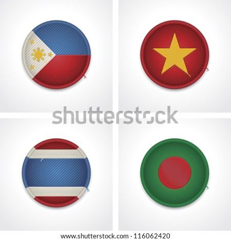 Vector flags of countries as fabric badges icon set. Includes Bangladesh, Thailand, Philippines and Vietnam flags