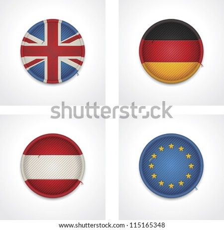 Vector flags of countries as fabric badges icon set. Includes United Kingdom of Great Britain and Northern Ireland, Germany, Austria and European Union flags