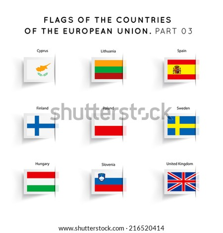 Vector Flags of EU countries on a white background. Part 03 - stock vector
