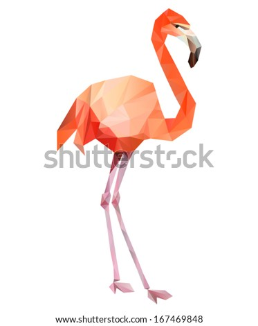 Vector - flamingo geometric (illustration of a many triangles)  - stock vector