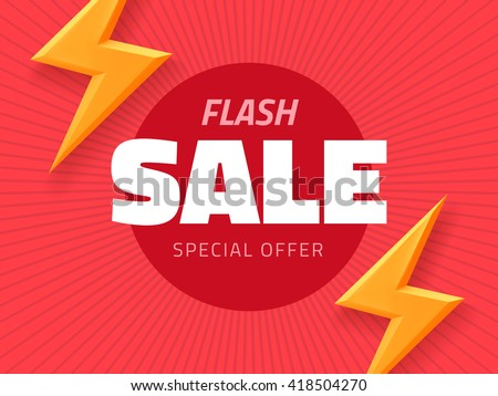 Vector flash sale design with thunder vector illustration, pink background banner with lightning for business design - stock vector