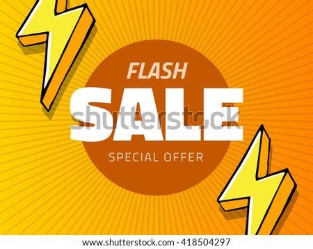 Vector flash sale design with thunder vector illustration, yellow background with lightning for business design