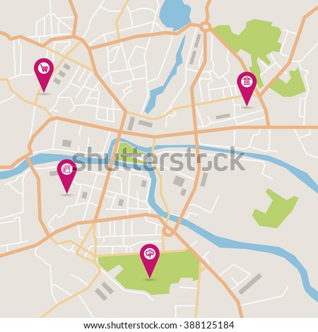 Vector flat abstract city map with pin pointers and infrastructure icons - stock vector