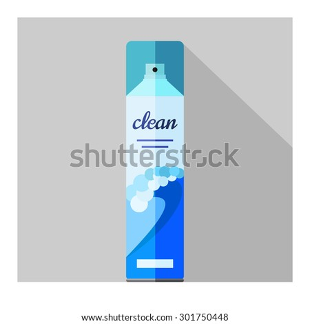 Vector flat air freshener aerosol bottle. Ocean - stock vector