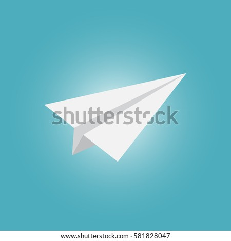 Vector flat airplane and clouds icon on blue background