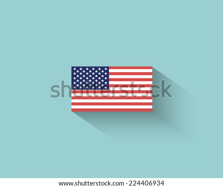 Vector Flat American Flag - stock vector